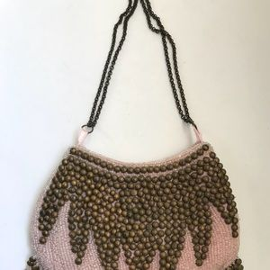 Betsy Johnson Pink and Gold Beaded Handbag size S